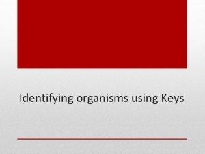 Identifying organisms using Keys Keys Most people do