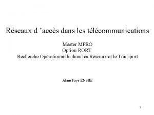 Rseaux d accs dans les tlcommunications Master MPRO