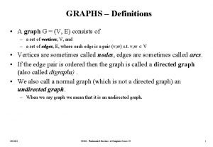 GRAPHS Definitions A graph G V E consists
