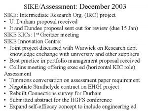 SIKEAssessment December 2003 SIKE Intermediate Research Org IRO