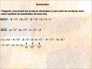Numration I Rappels concernant les critures dcimales cestdire