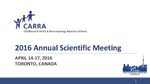 2016 Annual Scientific Meeting APRIL 14 17 2016