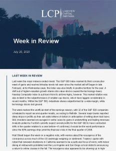 Week in Review July 20 2020 LAST WEEK