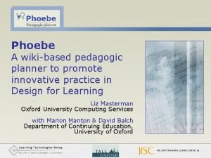 Phoebe A wikibased pedagogic planner to promote innovative
