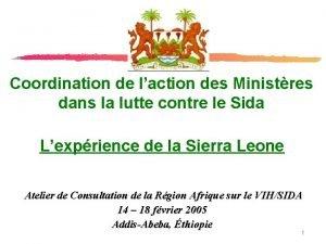 Coordination de laction des Ministres dans la lutte