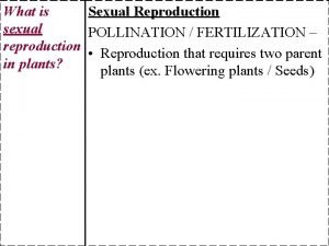 What is Sexual Reproduction sexual POLLINATION FERTILIZATION reproduction