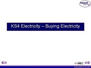 KS 4 Electricity Buying Electricity Boardworks Ltd 2003