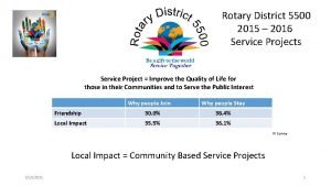 Rotary District 5500 2015 2016 Service Projects Service