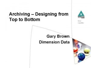 Archiving Designing from Top to Bottom Global Capabilities