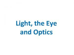 Light the Eye and Optics Light aka Visible