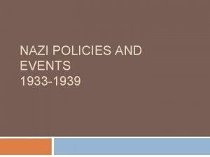 NAZI POLICIES AND EVENTS 1933 1939 Jewish population
