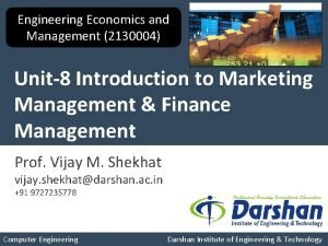 Engineering Economics and Management 2130004 Unit8 Introduction to