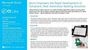 Microsoft Azure CASE STUDY Azure Empowers the Rapid