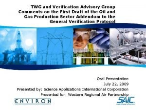 TWG and Verification Advisory Group Comments on the