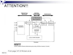 ATTENTION ATTENTION RESOURCES From page 147 of Wickens