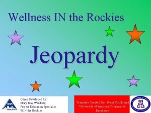 Wellness IN the Rockies Jeopardy Game Developed by
