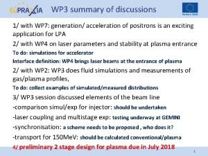 WP 3 summary of discussions Horizon 2020 1