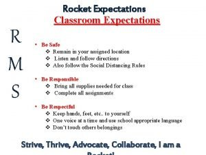 Rocket Expectations Classroom Expectations R M S Be