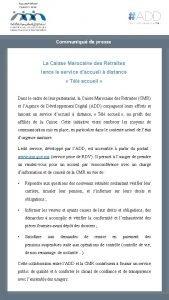 Communiqu de presse La Caisse Marocaine des Retraites