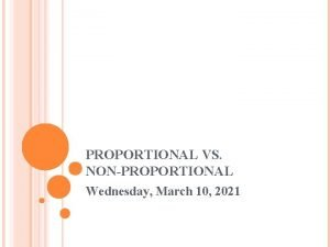 PROPORTIONAL VS NONPROPORTIONAL Wednesday March 10 2021 PROPORTIONAL