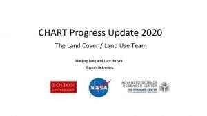 CHART Progress Update 2020 The Land Cover Land