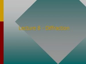 Lecture 8 Diffraction Diffraction of Light Diffraction is