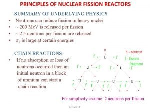 PRINCIPLES OF NUCLEAR FISSION REACTORS SUMMARY OF UNDERLYING