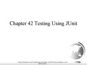 Chapter 42 Testing Using JUnit Liang Introduction to