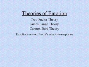 Theories of Emotion TwoFactor Theory James Lange Theory
