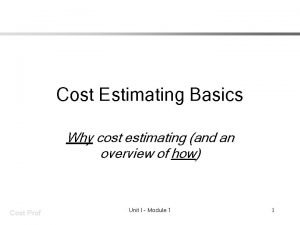 Cost Estimating Basics Why cost estimating and an