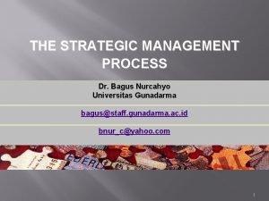 THE STRATEGIC MANAGEMENT PROCESS Dr Bagus Nurcahyo Universitas