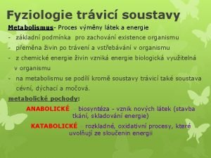 Fyziologie trvic soustavy Metabolismus Proces vmny ltek a