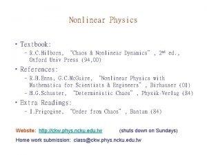 Nonlinear Physics Textbook R C Hilborn Chaos Nonlinear