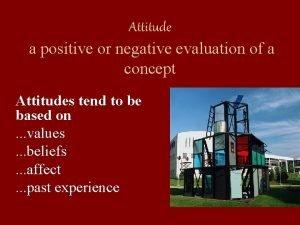 Attitude a positive or negative evaluation of a