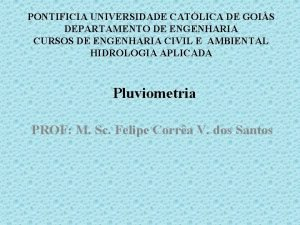 PONTIFICIA UNIVERSIDADE CATLICA DE GOIS DEPARTAMENTO DE ENGENHARIA