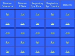 Tobacco Substances Tobacco Effects Respiratory Sys Function Sys