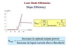 Laser Diode Efficiencies Slope Efficiency Laser Diode Efficiencies