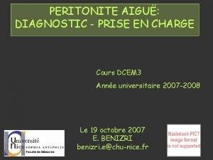 PERITONITE AIGU DIAGNOSTIC PRISE EN CHARGE Cours DCEM