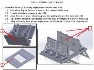 STEP 1 ASSEMBLE ANGLE PLATES 1 Assemble frame