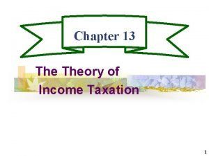 Chapter 13 Theory of Income Taxation 1 Income