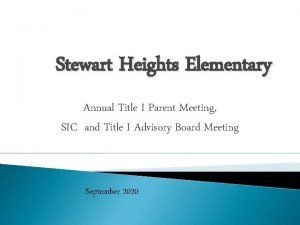 Stewart Heights Elementary Annual Title I Parent Meeting
