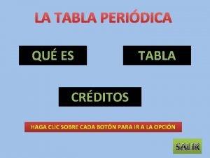 LA TABLA PERIDICA QU ES TABLA CRDITOS HAGA