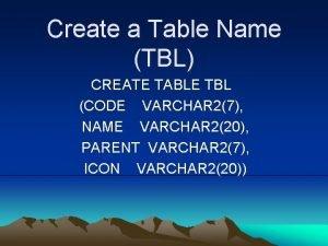 Create a Table Name TBL CREATE TABLE TBL