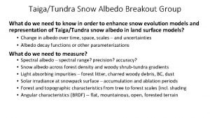 TaigaTundra Snow Albedo Breakout Group What do we