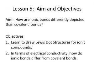 Lesson 5 Aim and Objectives Aim How are