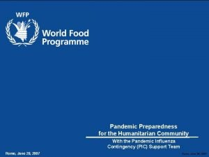 AHI Avian and Human Influenza Pandemic Preparedness for