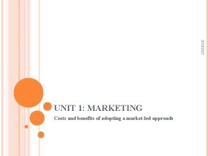 3102021 UNIT 1 MARKETING Costs and benefits of
