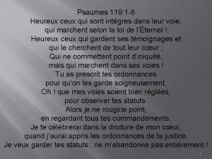 Psaumes 119 1 8 Heureux ceux qui sont