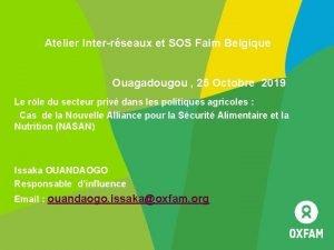 Atelier Interrseaux et SOS Faim Belgique Ouagadougou 25