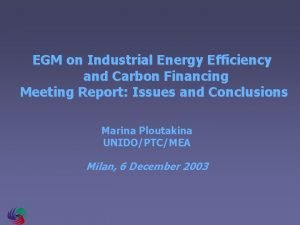 EGM on Industrial Energy Efficiency and Carbon Financing